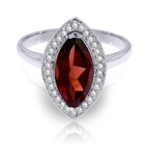SOLID GOLD RING WITH DIAMONDS & MARQUIS GARNET